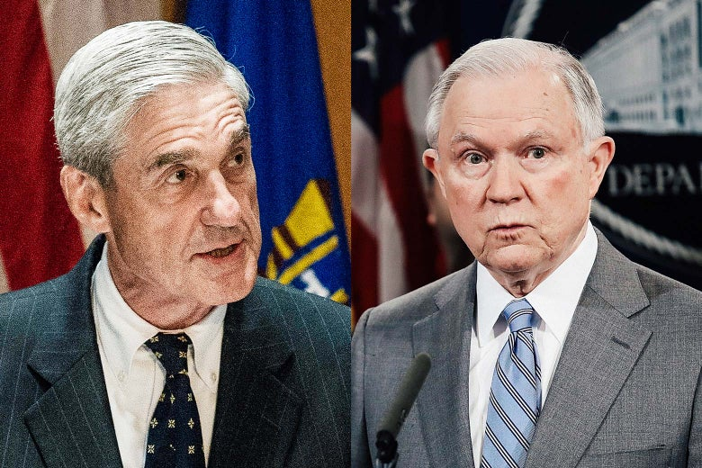 Photo illustration: Side-by-side of special counsel Robert Mueller and Attorney General Jeff Sessions.