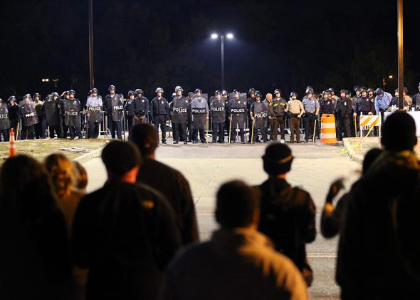 Ferguson, Missouri, protesters face off with polic on Oct. 22, 2014