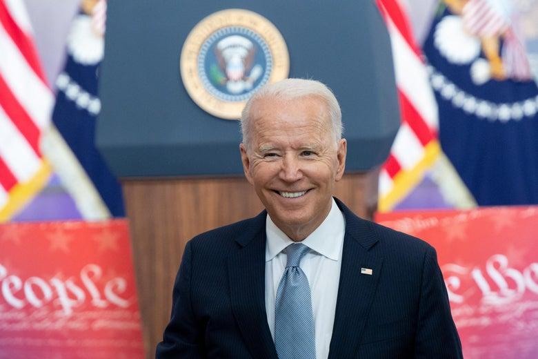 Joe Biden smiling.