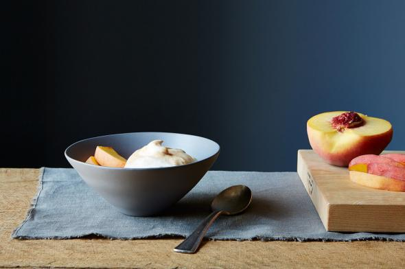 Apricot fool with peaches