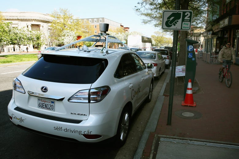 Google's Lexus RX 450H Self Driving Car is seen parked on Pennsylvania Ave. on April 23, 2014 in Washington, DC. Google has logged over 300,000 miles testing its self driving cars around the country.