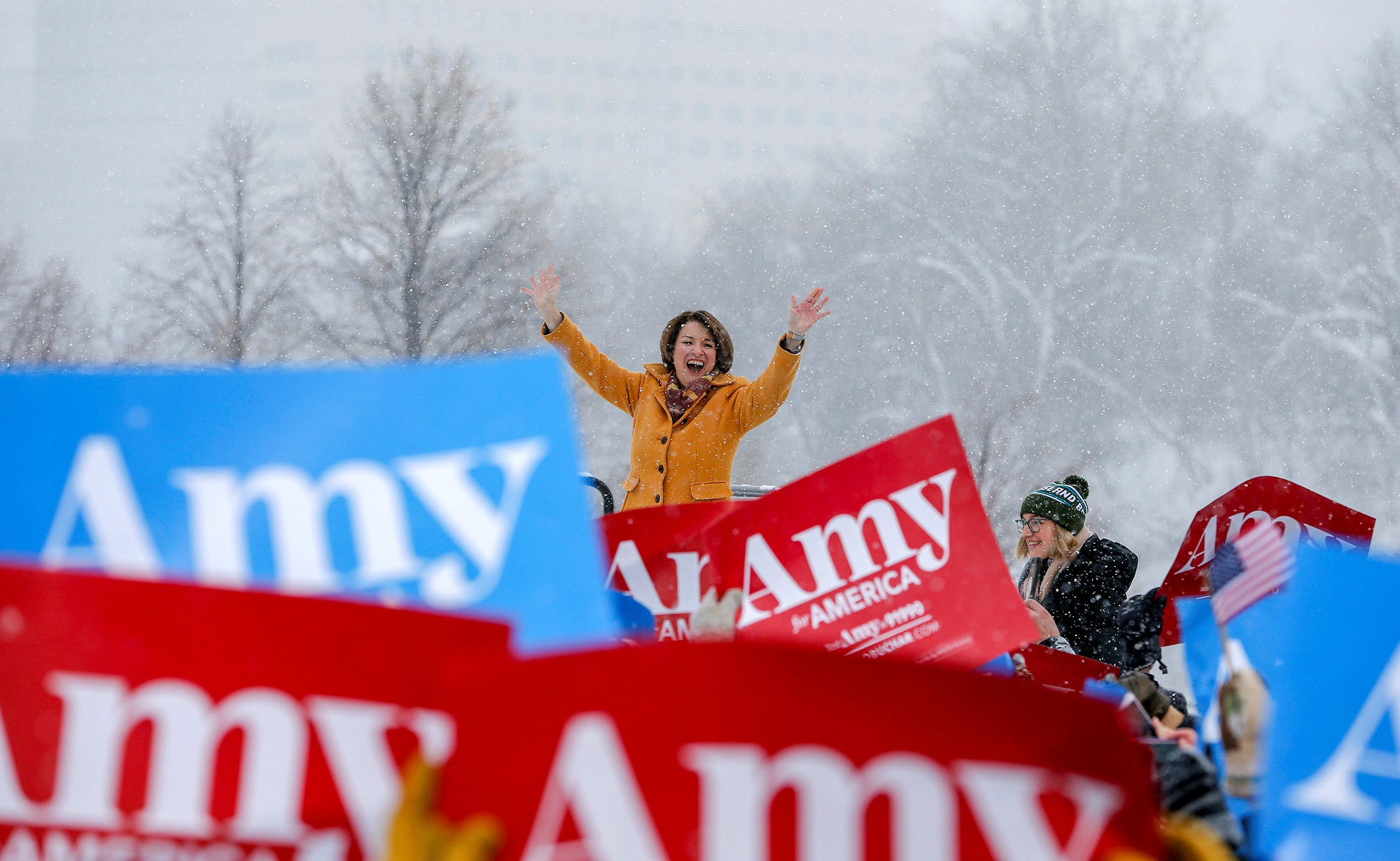 Amy Klobuchar at a snowy campaign rollout