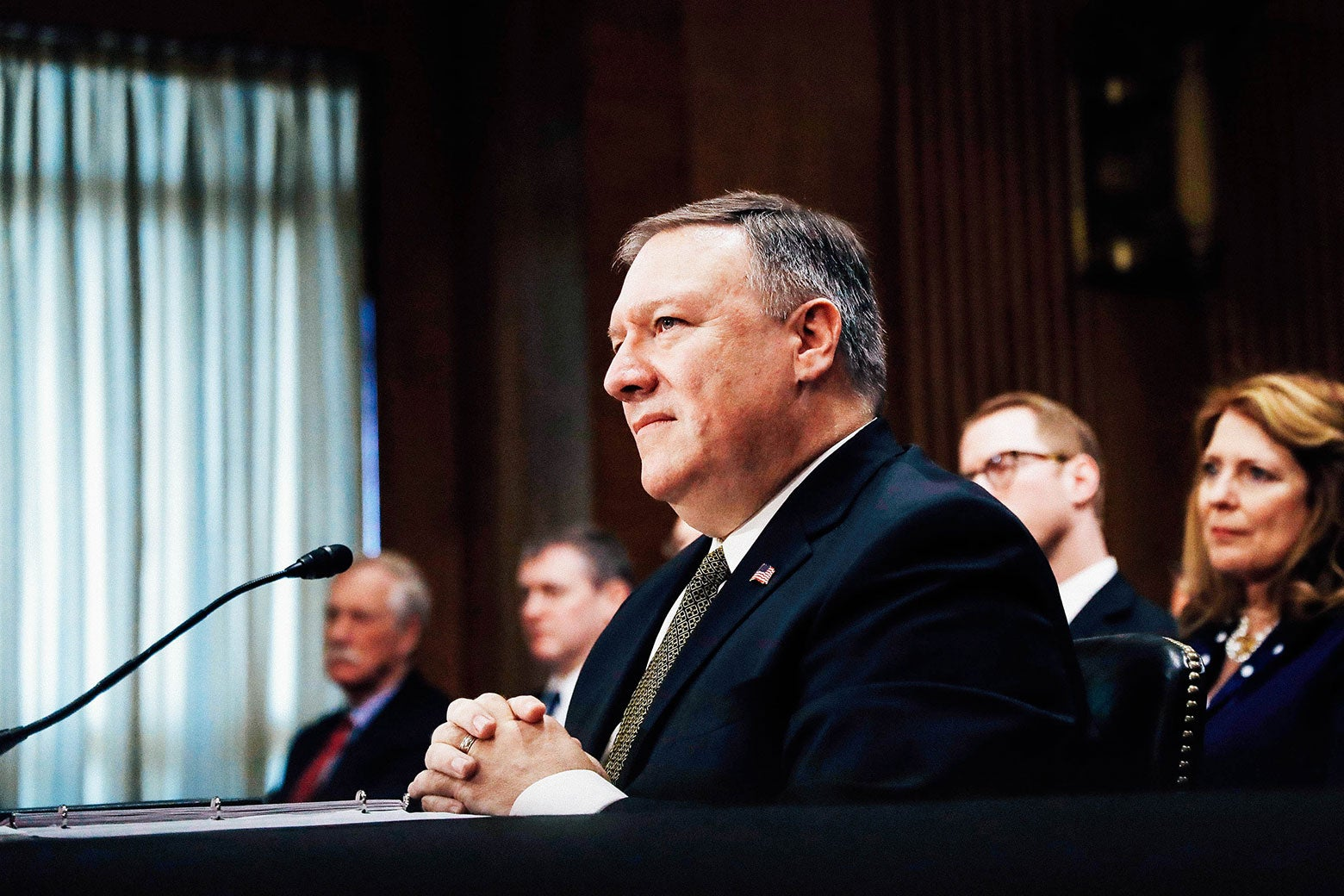 CIA Director Mike Pompeo testifies before a Senate Foreign Relations Committee confirmation hearing on his nomination to be secretary of state Thursday on Capitol Hill in Washington.
