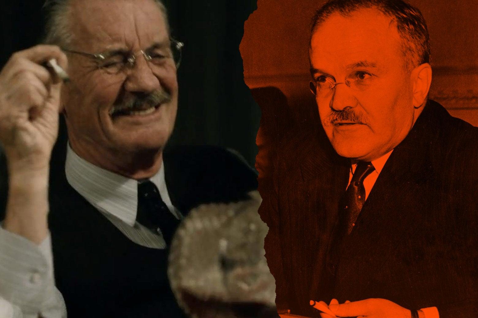 At left: Michael Palin as Vyacheslav Molotov in the film. At right: the real Vyacheslav Molotov.