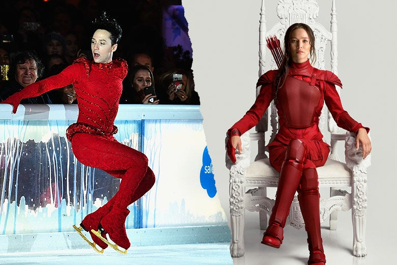 Left: Johnny Weir skates wearing red bodysuit. Right: Jennifer Lawrence as Katniss Everdeen wears red armor while sitting on a white throne against a white background.