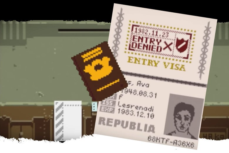 PewDiePie plays Papers, Please, illustrating the immigration