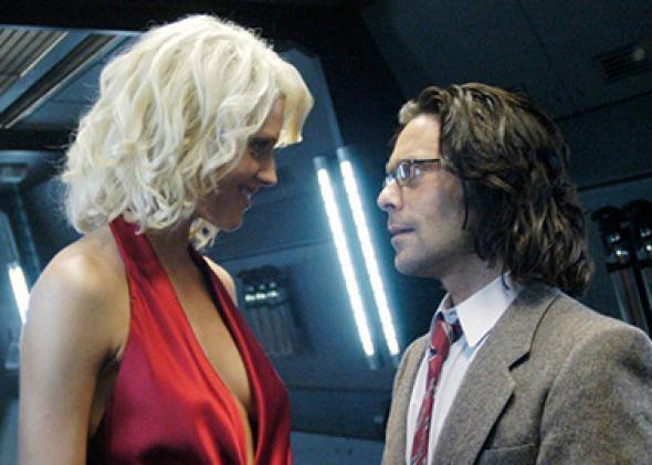 Tricia Helfer, center, as humanoid Cylon model Number Six in Battlestar Galactica.