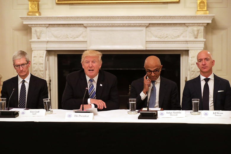 WASHINGTON, DC - JUNE 19:  U.S. President Donald Trump (2nd L) welcomes members of his American Technology Council, including (L-R) Apple CEO Tim Cook, Microsoft CEO Satya Nadella and Amazon CEO Jeff Bezos in the State Dining Room of the White House June 19, 2017 in Washington, DC. According to the White House, the council's goal is 'to explore how to transform and modernize government information technology.'  (Photo by Chip Somodevilla/Getty Images)