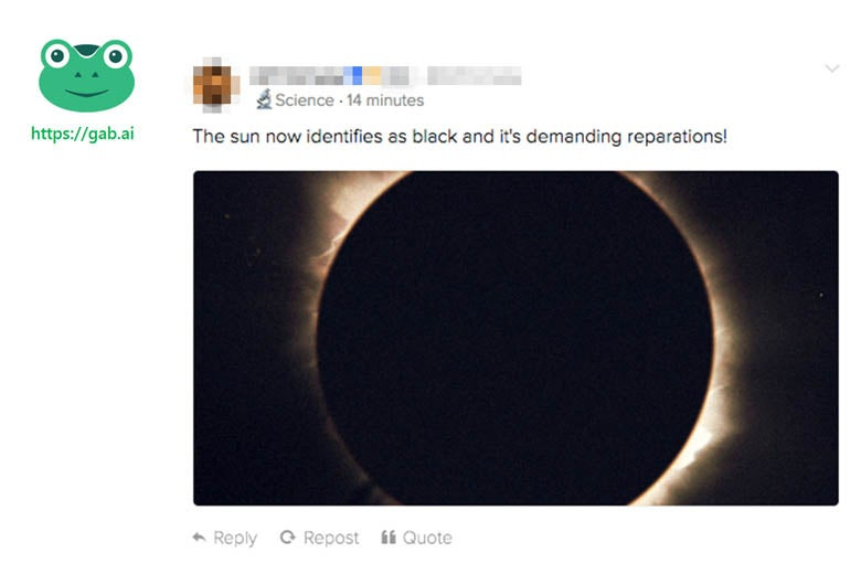 On Gab, even events like the full eclipse become racist memes.
