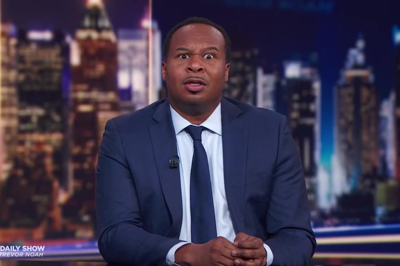 Roy Wood Jr. makes a cartoonish face of disgust.