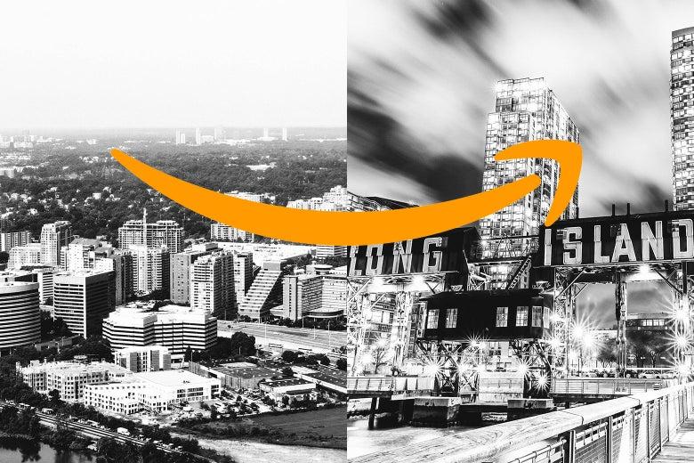 The Amazon arrow spread over a diptych of Crystal City, Virginia, and Long Island City, New York.