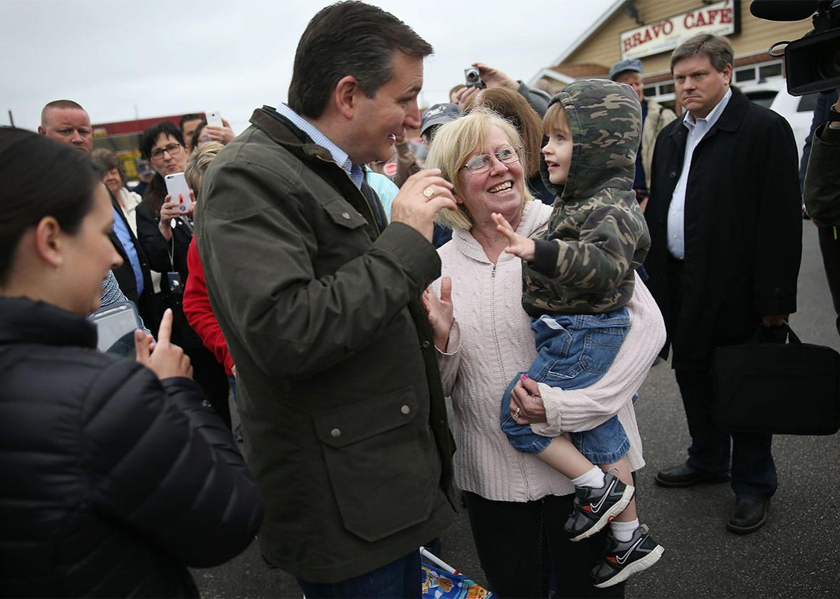 Republican presidential candidate Sen. Ted Cruz greets people during a campaign stop at the Bravo Cafe on May 2, 2016 in Osceola, Indiana.
