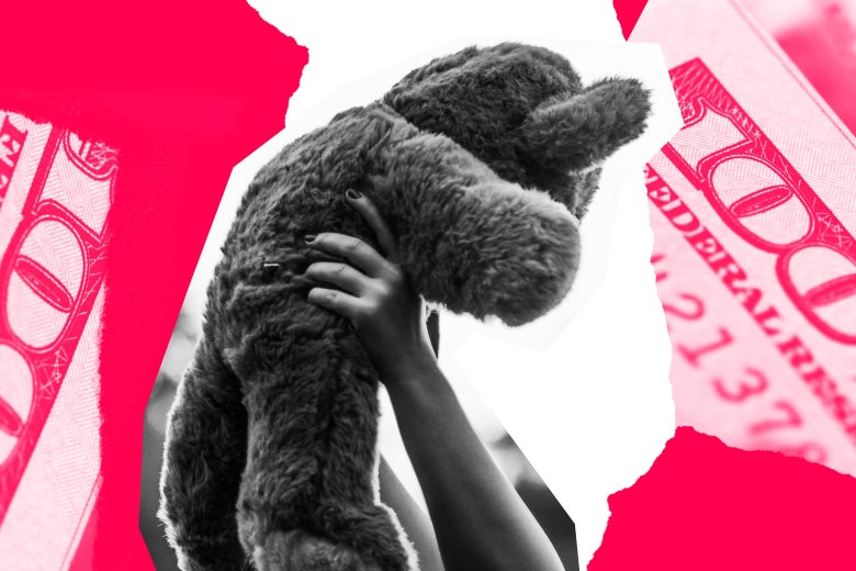 A teddy bear being held up by someone, bordered with collage of money.