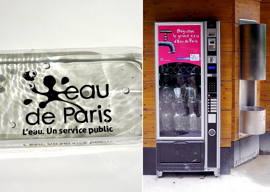 Reusable water flask designed by Philippe Starck, vending machine at the André Citroën park.
