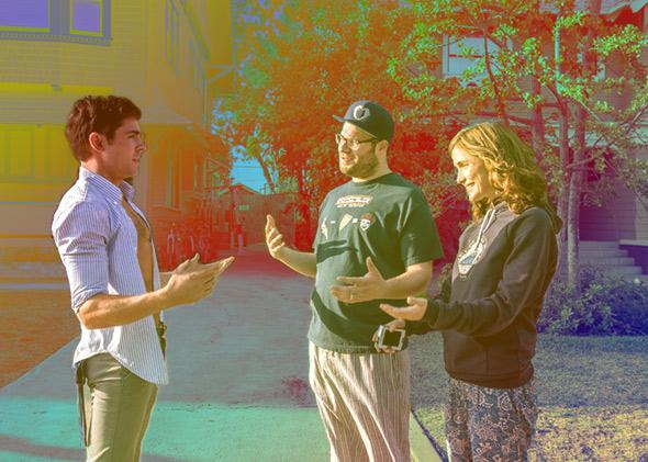Rose Byrne, Seth Rogen and Zac Efron in Neighbors (2014).