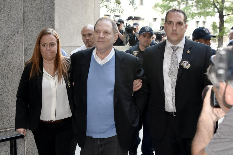 Harvey Weinstein arrives for arraignment after being arrested and processed on charges of rape, committing a criminal sex act, sexual abuse and sexual misconduct on May 25, 2018 in New York City.