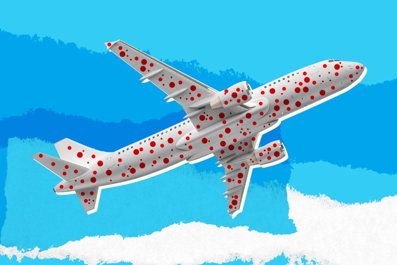 A plane covered in red spots as if it has measles.
