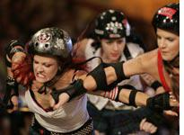 Rollergirls strap on their skates and come out swinging