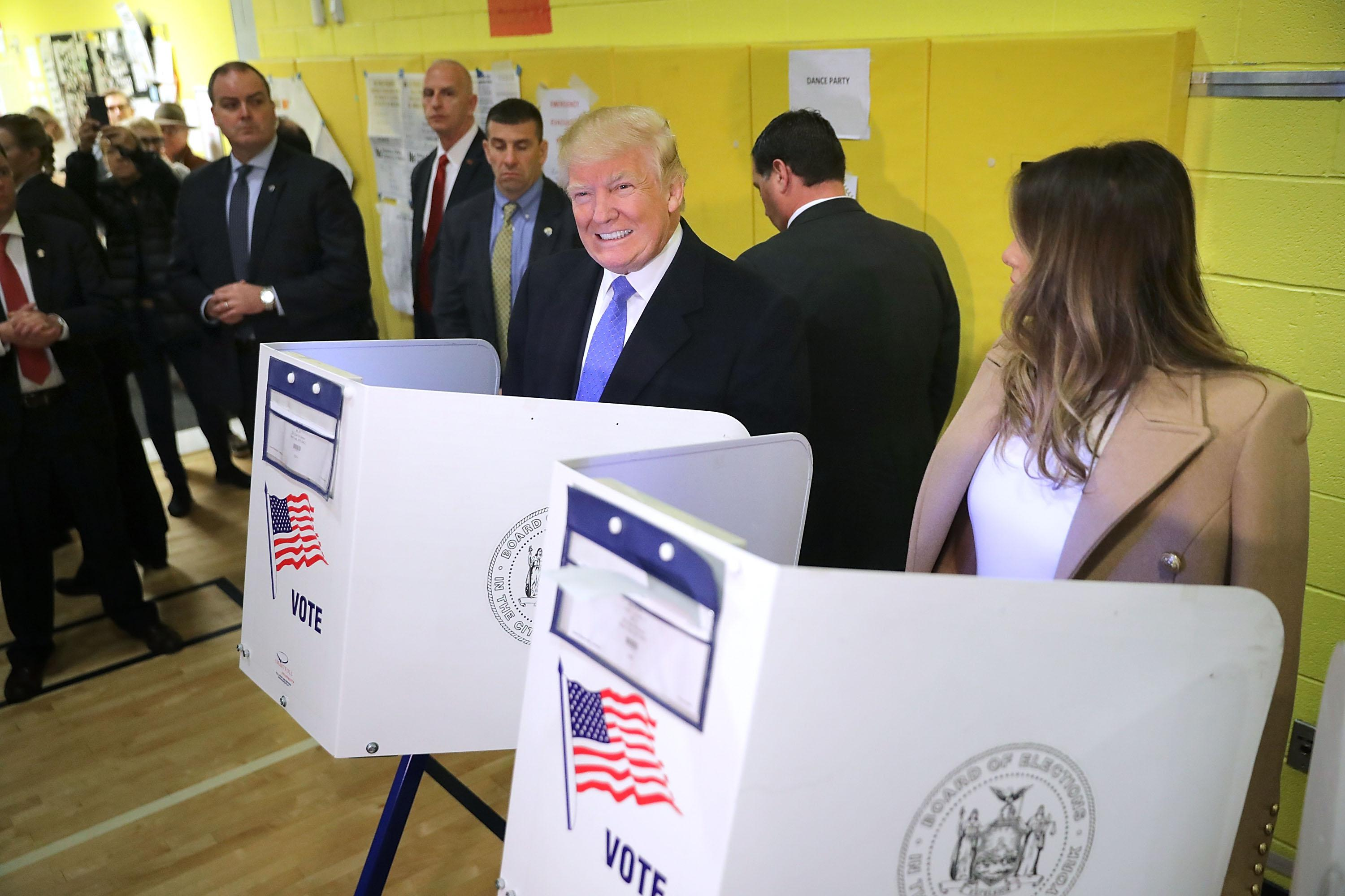 Donald Trump and his wife Melania Trump cast their votes on Election Day at PS 59 November 8, 2016 in New York City.