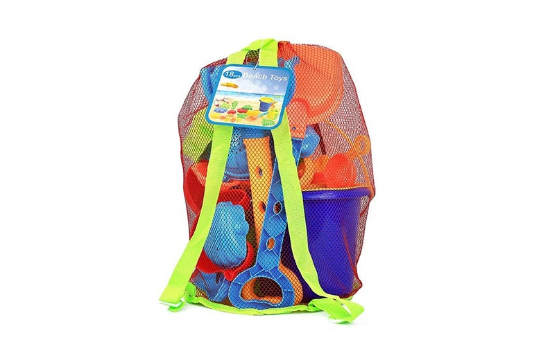 An 18-piece sand toy set in a mesh backpack.