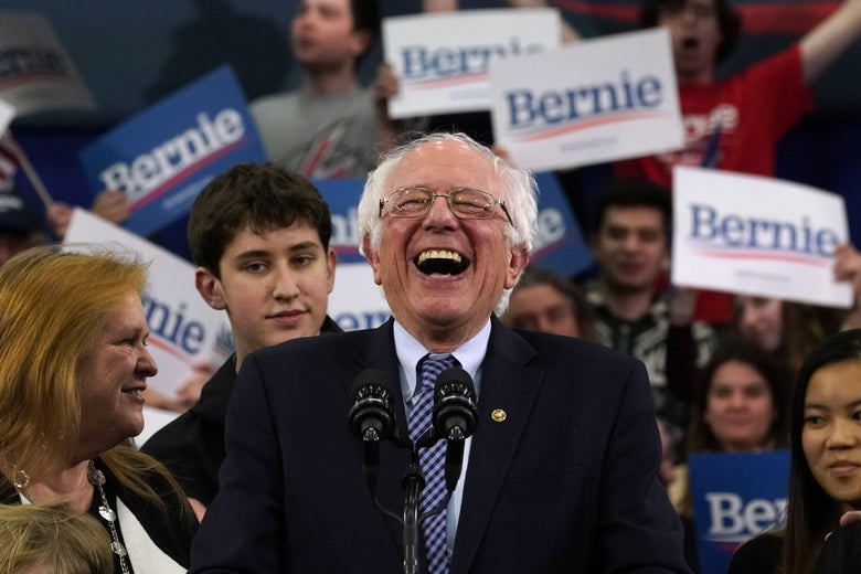 Bernie Sanders laughs uproariously.