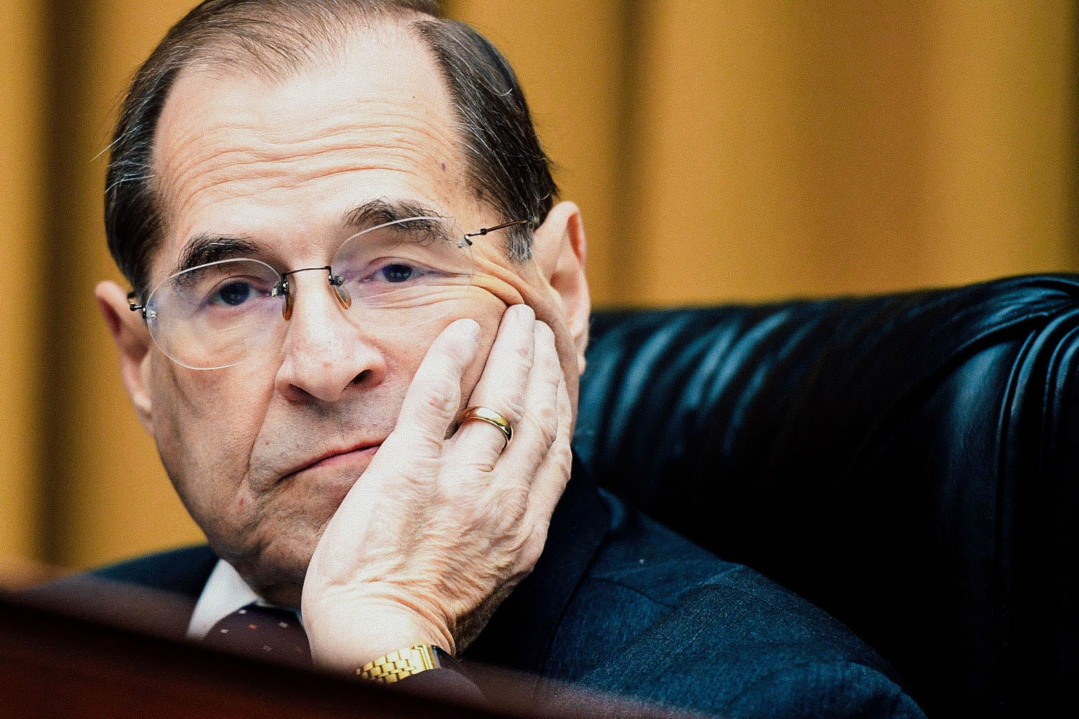 New York Rep. Jerry Nadler looks on as Attorney General William Barr fails to arrive for testimony before the House Judiciary Committee in Washington on Thursday.