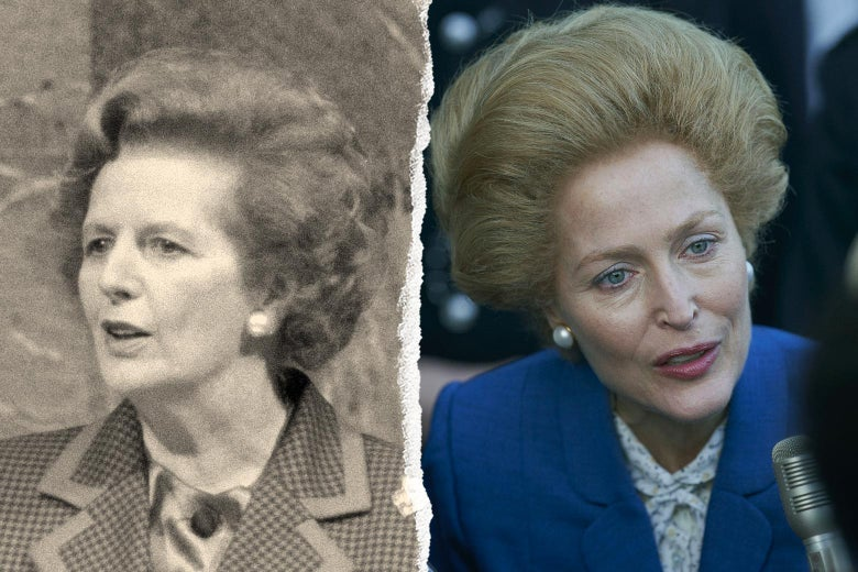 Margaret Thatcher, and Gillian Anderson as Thatcher in The Crown