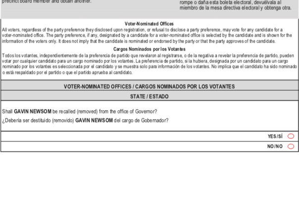 Text of California sample ballot question #1 on whether to recall Gavin Newsom.