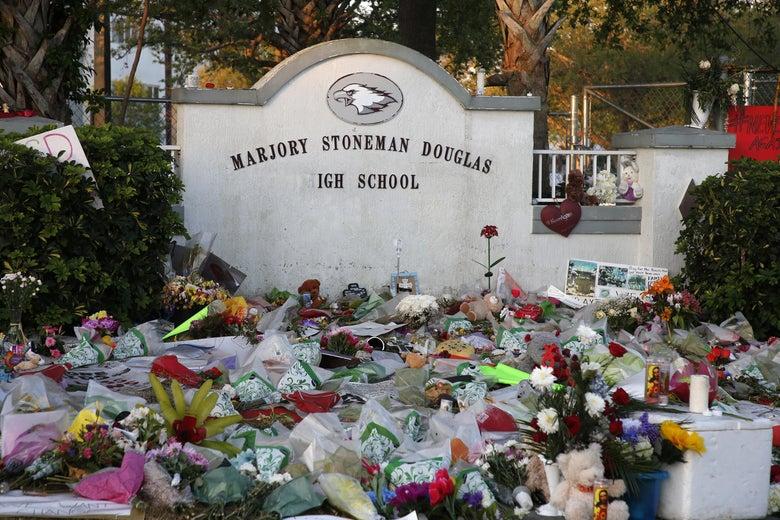 One of the makeshift memorials at Marjory Stoneman Douglas High School in Parkland, Florida