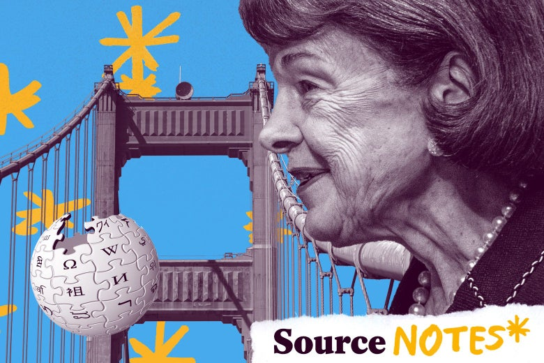 """Dianne Feinstein looks at the Golden Gate Bridge and a Wikipedia logo against a blue background with yellow asterisks and the label """"Source Notes."""""""
