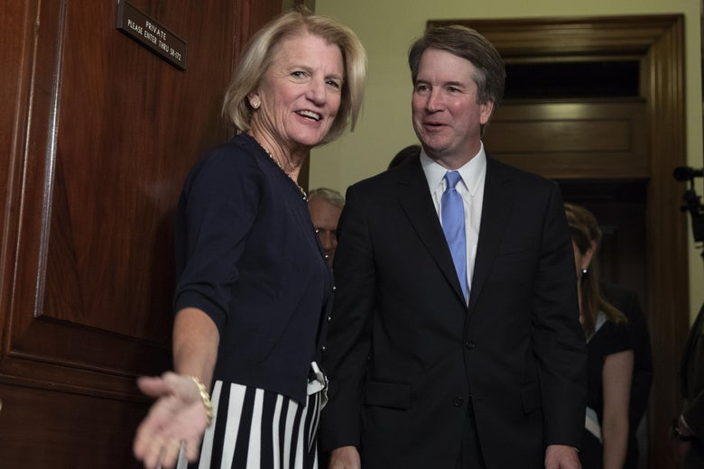 Sen. Shelley Moore Capito greets Judge Brett Kavanaugh prior to a meeting.