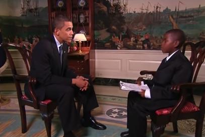 Damon Weaver interviews then-President Barack Obama at the White House on Aug. 13, 2009.