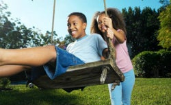 Children playing on swingset