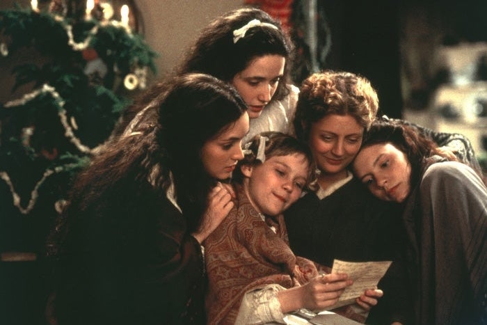 Winona Ryder, Trini Alvarado, Kirsten Dunst, Susan Sarandon, and Claire Danes huddled around a letter.