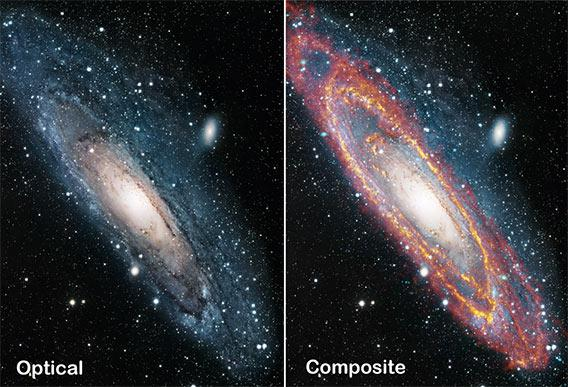 Side by side view of an optical and IR view of Andromeda