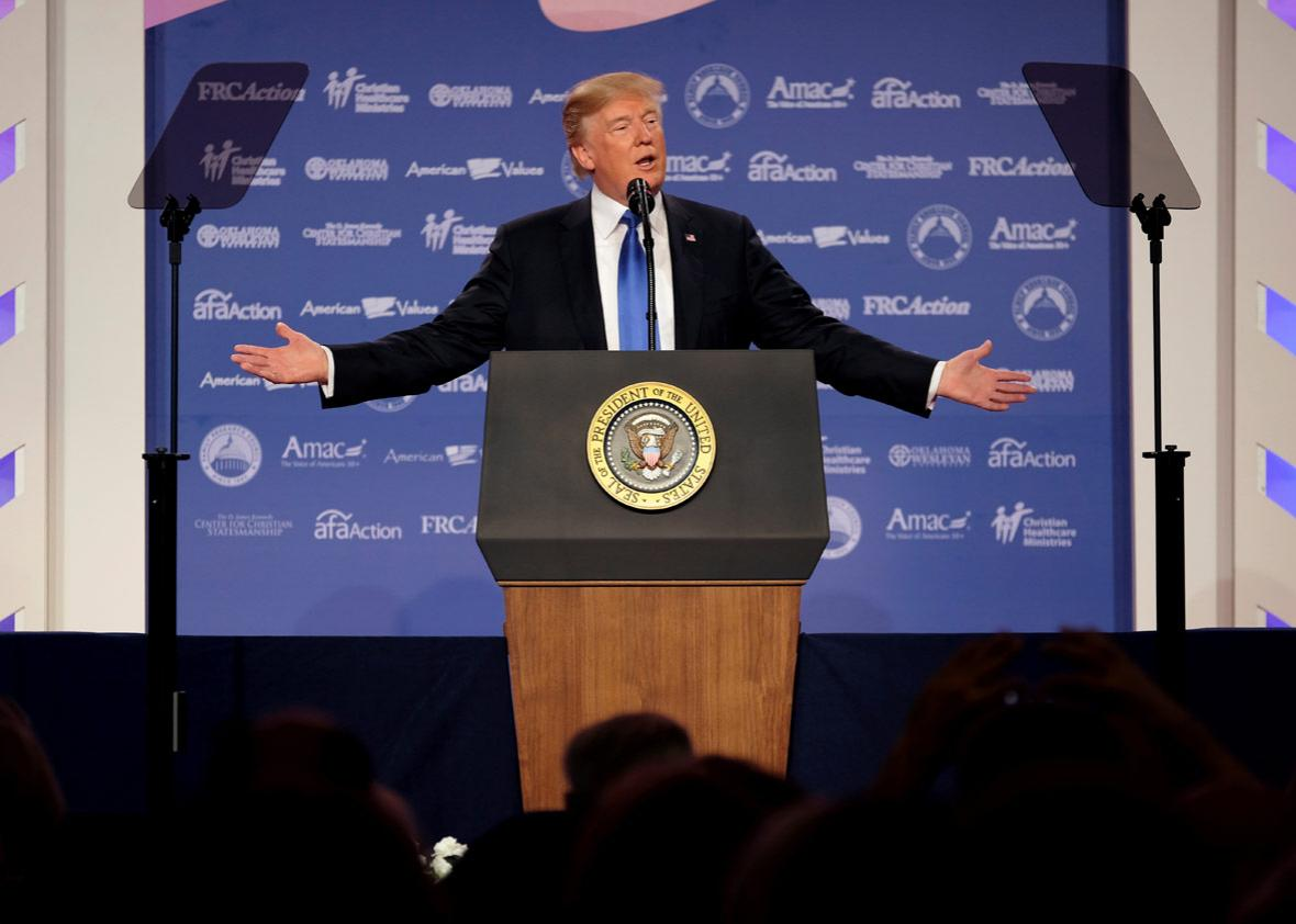 U.S. President Donald Trump addresses the Values Voter Summit of the Family Research Council in Washington, DC, U.S. October 13, 2017.
