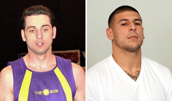 Tamerlan Tsarnaev, left, and Aaron Hernandez