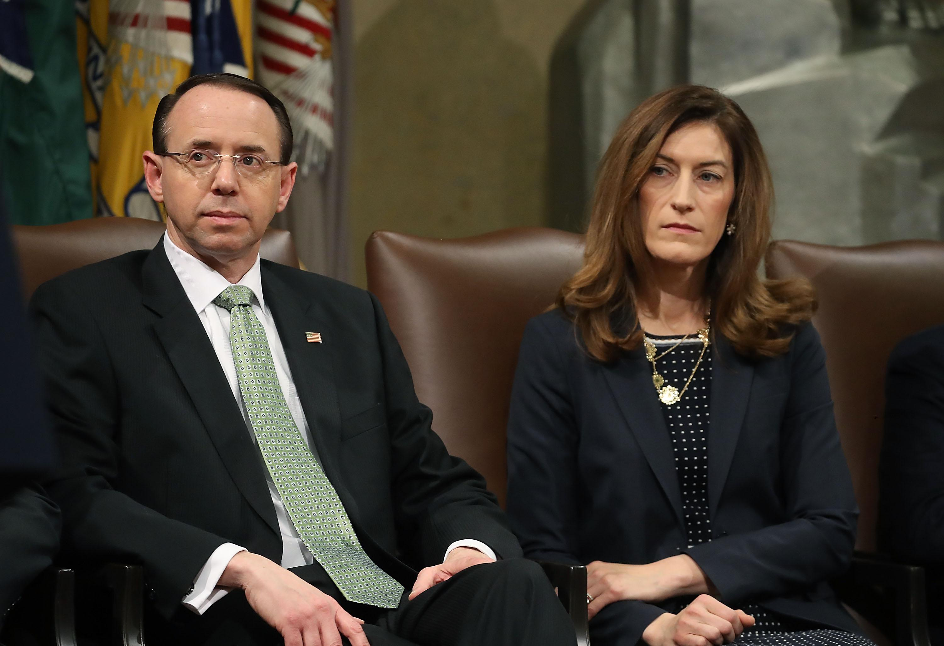 Rod Rosenstein and Rachel Brand participate in a summit to discuss efforts to combat human trafficking.