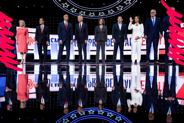 Democratic candidates onstage before the second Democratic debate.