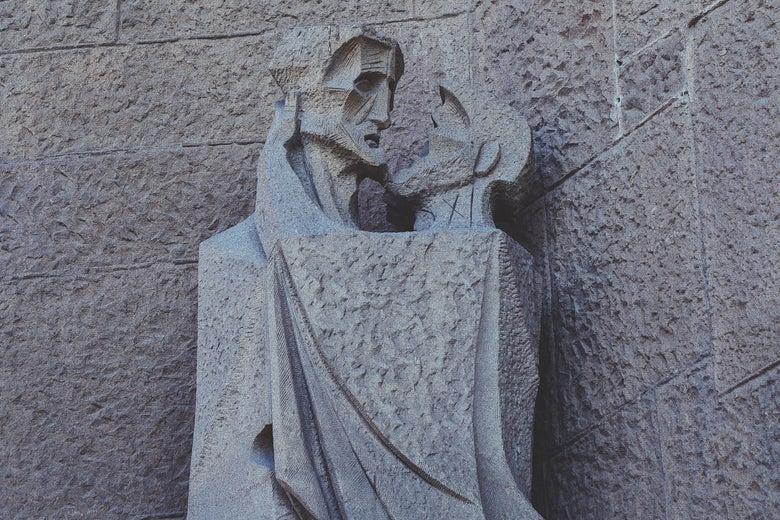 A scuplture of the kiss of Judas Iscariot from the Basílica de la Sagrada Família in Barcelona.