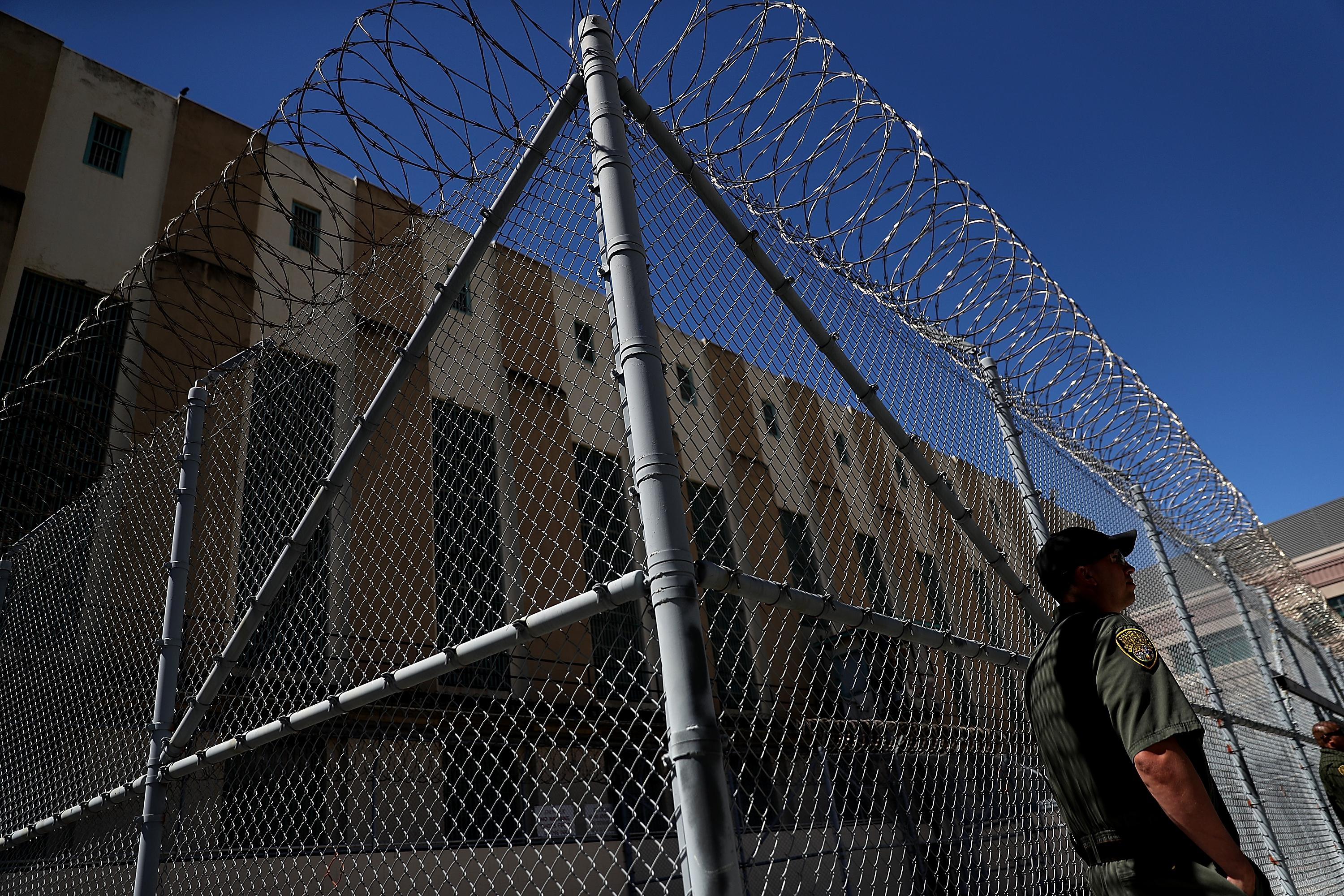 An officer stands guard at San Quentin State Prison on August 15, 2016 in San Quentin, California.