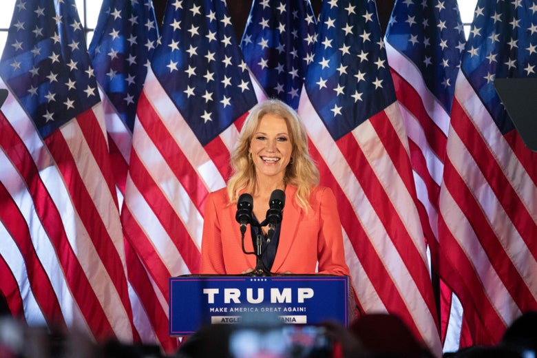 Former Counselor to the President of the United States Kellyanne Conway speaks to Trump supporters at a Make America Great Again event with First Lady Melania Trump in Atglen, Pennsylvania, on Oct. 27, 2020.
