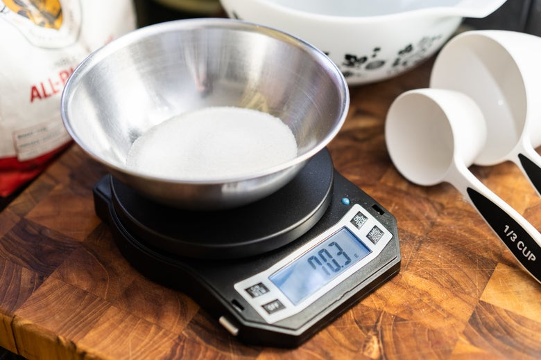 bowl of flour on the American Weigh Scales