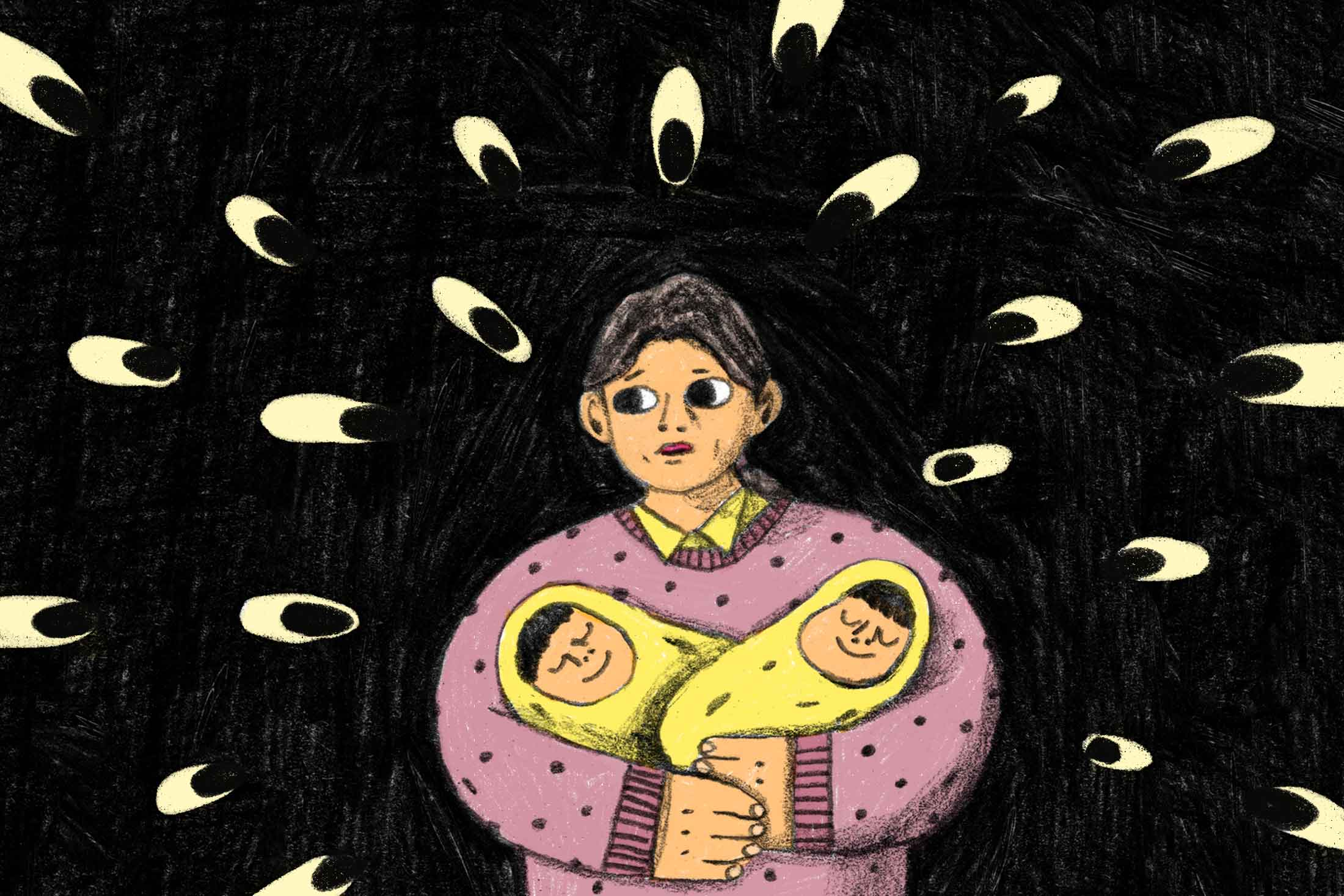 A mother holds her twin infants as several eyes peer through the darkness at her.