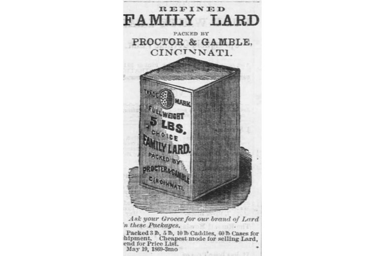 """A newspaper ad for """"Refined Family Lard"""" from 1869."""