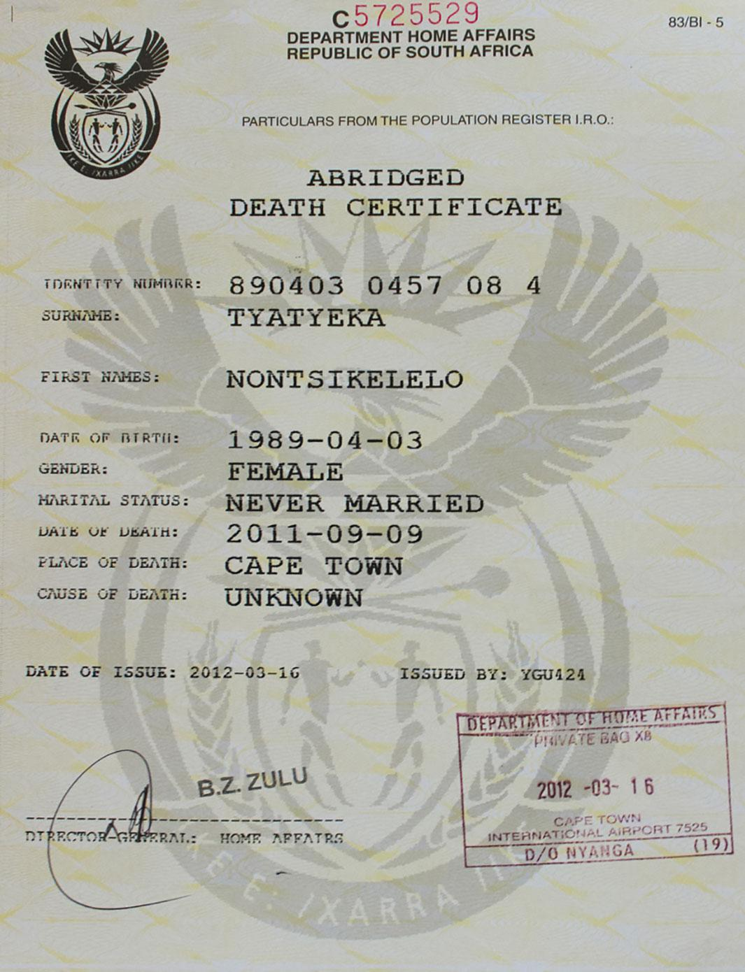 Ntisiki's death certificate