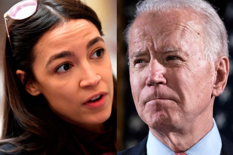 Side-by-side photos of Alexandria Ocasio-Cortez and Joe Biden