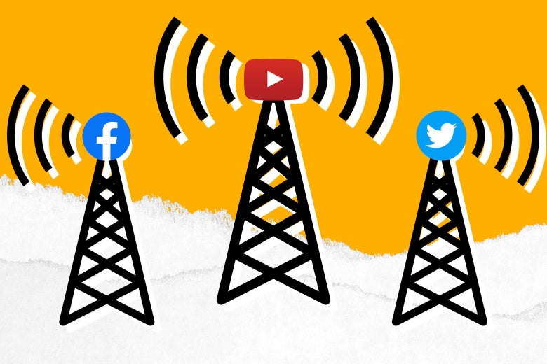 Radio towers with the corporate logos of Facebook, YouTube, and Twitter.