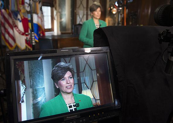 Iowa Sen. Joni Ernst rehearses the Republican Party's response to President Obama's State of the Union address on Capitol Hill in Washington, D.C., on Jan. 20, 2015