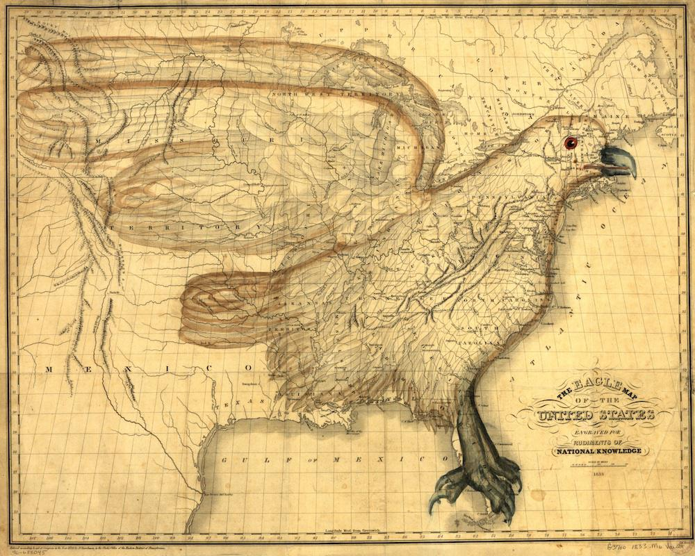 Map Of The United States Images.Eagle Map 1833 Map Of The United States With Eagle Superimposed